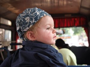 Jakarta bus - backpacking with a baby SE Asia