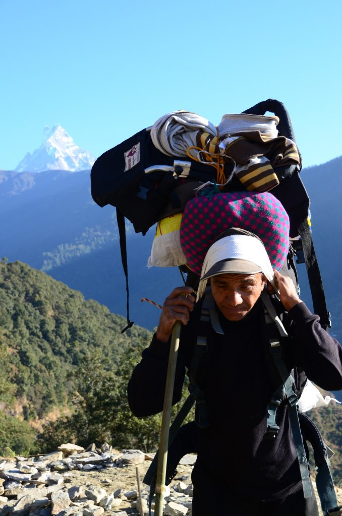 These sherpas are incredibly fit, and it's not unusual for a 55kg man to  carry up to 70kg on his back AND make the steep climbs look easy.