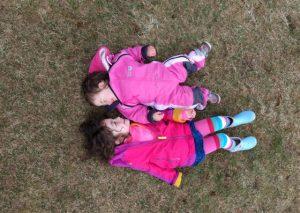 Kids lying down in Iceland