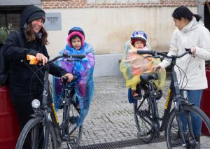 Feeling cold on their Madrid cycle tour