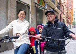 Family ready for their Madrid bike tour