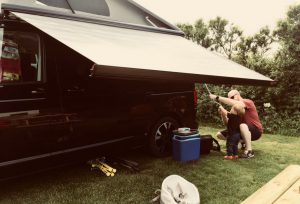Putting up the awning