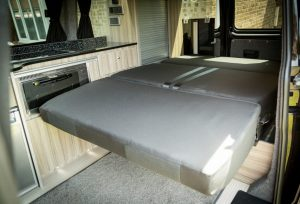 The fold out bed in the motorhome